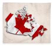 Canada Map Art With Flag Design Fleece Blanket