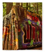 Canadian Box Car In The Forest Fleece Blanket