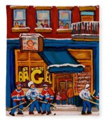 Canadian  Artists Paint Hockey And Montreal Streetscenes Over 500 Prints Available  Fleece Blanket
