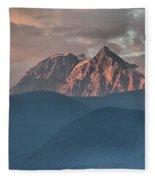 Canadian Coastal Mountains Sunset Fleece Blanket