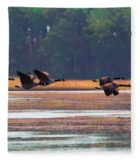 Canadian Geese In Flight Fleece Blanket