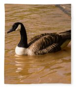 Canadian Goose In On Golden Pond Fleece Blanket