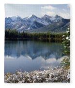 1m3541-canadian Peak Reflected In Herbert Lake Fleece Blanket