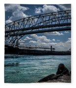 Canadian Tranfer Under Blue Water Bridges Fleece Blanket