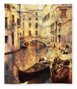 Canal And Docked Gondolas In Venice Fleece Blanket