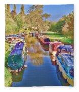 Canal Barges Fleece Blanket