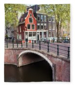 Canal Bridge And Houses In Amsterdam Fleece Blanket