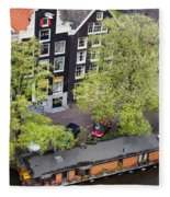 Canal Houses And Houseboat In Amsterdam Fleece Blanket