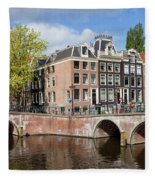 Canal Houses In Amsterdam Fleece Blanket