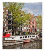 Canal In Amsterdam Fleece Blanket