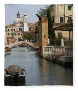 Canal In Venice Fleece Blanket