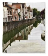 Canal Reflection  Fleece Blanket