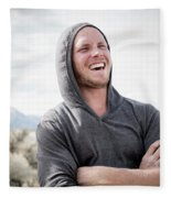 Candid Portrait Of Laughing Young Fleece Blanket