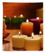 Candles Burning In A Spa  Fleece Blanket