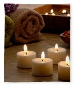Candles In A Spa Fleece Blanket
