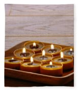 Candles In Wood Tray Fleece Blanket