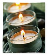 Candles On Green Fleece Blanket