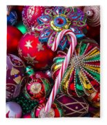 Candy Canes And Colorful Ornaments Fleece Blanket