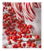 Candy Canes And Red Berries Fleece Blanket