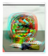 Candy Jar - Use Red-cyan Filtered 3d Glasses Fleece Blanket