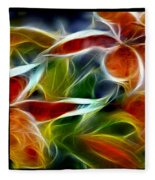 Candy Lily Fractal Triptych Fleece Blanket