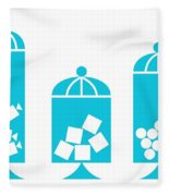 Canisters In Turquoise Fleece Blanket