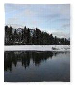 Winter Mountain Calm - Canmore, Alberta Fleece Blanket