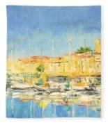 Cannes Harbour Fleece Blanket