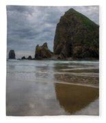 Cannon Beach Haystack Reflection Fleece Blanket