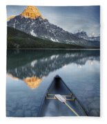 Canoe At Lower Waterfowl Lake With Fleece Blanket