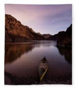Canoe In Lake Near Shore, Arizona Fleece Blanket