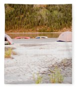 Canoe Tent Camp At Yukon River In Taiga Wilderness Fleece Blanket