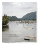 Canoeing On The Potomac River At Harpers Ferry Fleece Blanket