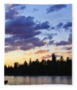Canoeing At Sunset Fleece Blanket