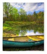 Canoeing At The Lake Fleece Blanket