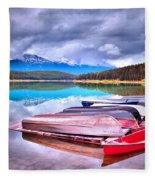 Canoes At Lake Patricia Fleece Blanket
