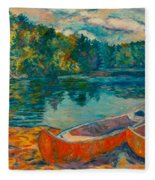 Canoes At Mountain Lake Fleece Blanket