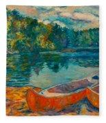Canoes At Mountain Lake Fleece Blanket