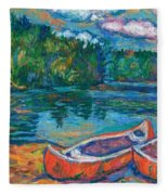 Canoes At Mountain Lake Sketch Fleece Blanket