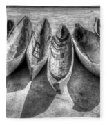 Canoes In Black And White Fleece Blanket