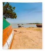 Canoes On A Lakeshore Fleece Blanket