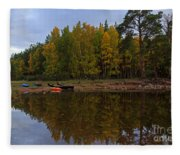 Canoes On The Shore At Loch An Eilein Fleece Blanket