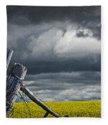 Canola Field In Southern Alberta Fleece Blanket