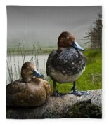 Canvasback Duck Pair By A Pond Fleece Blanket