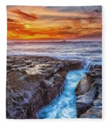 Cape Arago Crevasse Hdr Fleece Blanket