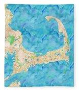 Cape Cod Watercolor Map Fleece Blanket