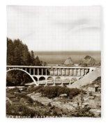 Cape Creek Bridge And Heceta Oregon Head Lighthouse  Circa1933 Fleece Blanket