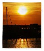 Cape May Harbor At Sunrise Fleece Blanket