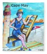 Cape May Illustration Poster Fleece Blanket