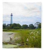 Cape May Lighthouse - New Jersey Fleece Blanket
